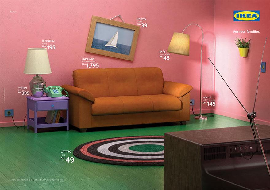 IKEA a recréé les salons célèbres des Simpson, Friends et Stranger Things avec ses produits