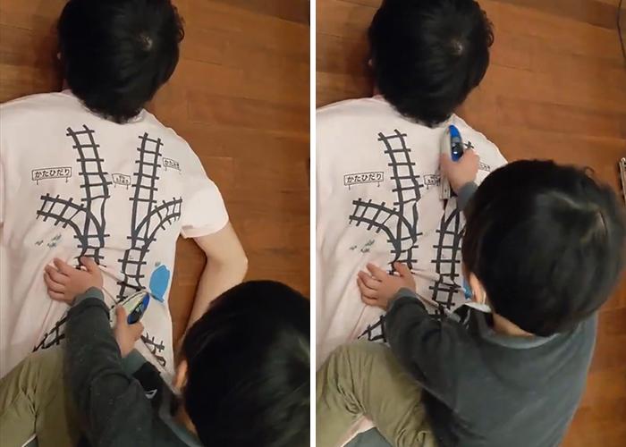 Ce papa a créé un t-shirt qui motive son enfant à lui donner un massage