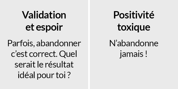 Une thérapeute a expliqué l'importante différence entre le soutien et la «positivité toxique» en un seul tableau
