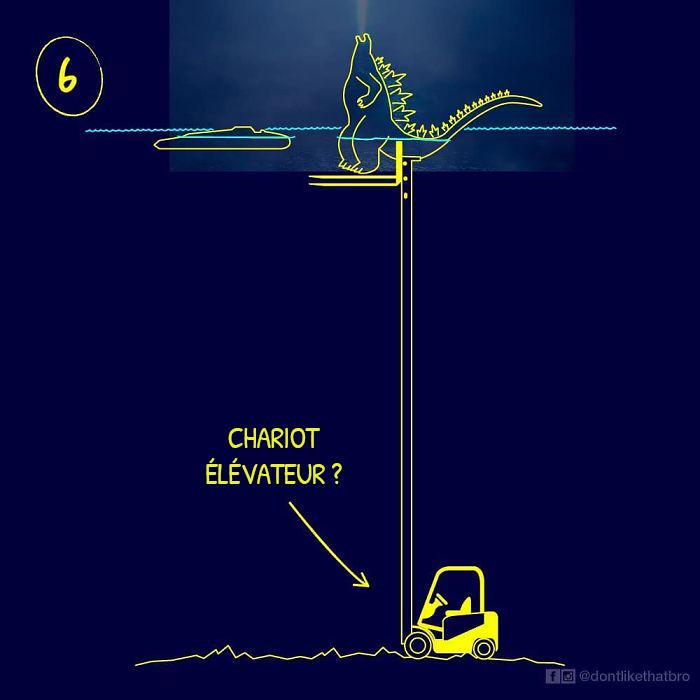 Un artiste a illustré 10 moyens hilarants utilisés par Godzilla pour réussir à se tenir debout dans un océan de 3688 mètres de profondeur