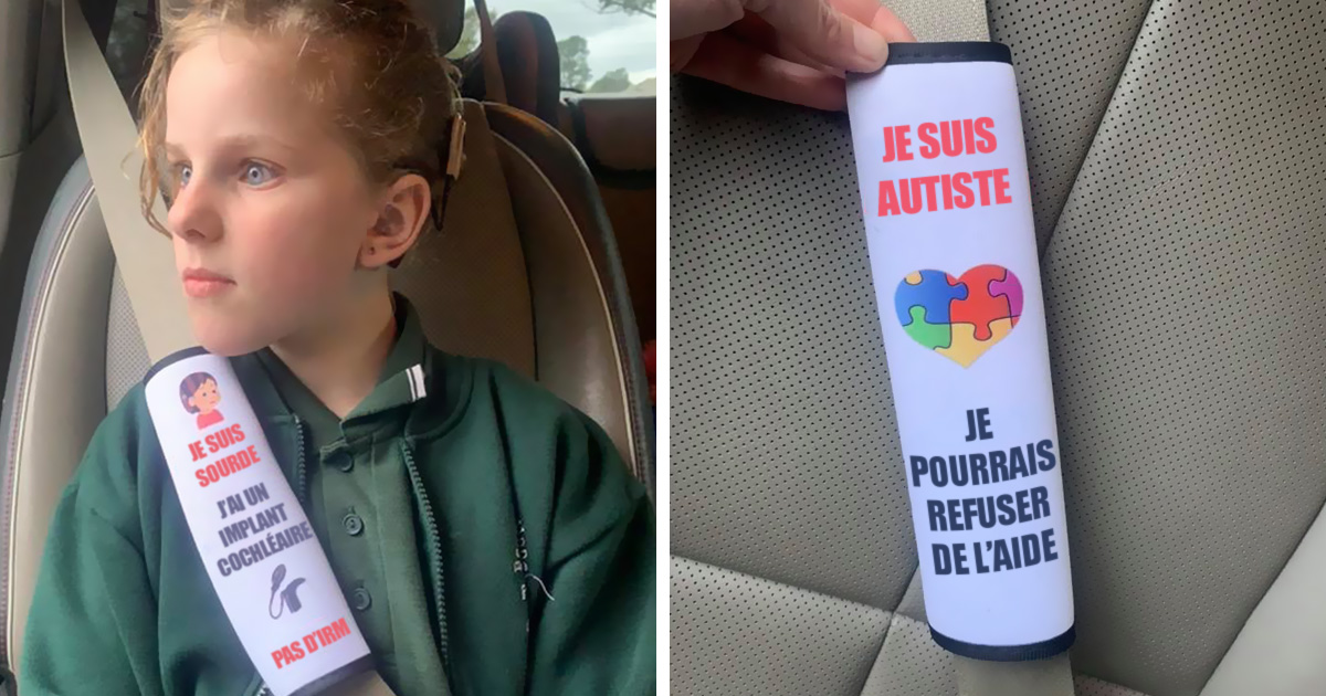 Une mère a créé des coussins de ceinture de sécurité qui avertissent les secouristes des problèmes de santé des enfants