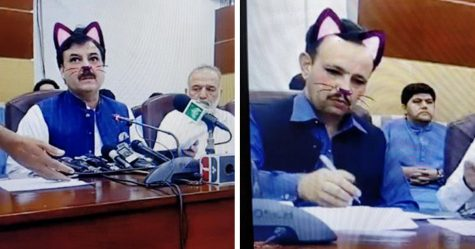 Des représentants du gouvernement pakistanais ont accidentellement activé le filtre de chat lors d'un Facebook Live et les internautes pleurent de rire