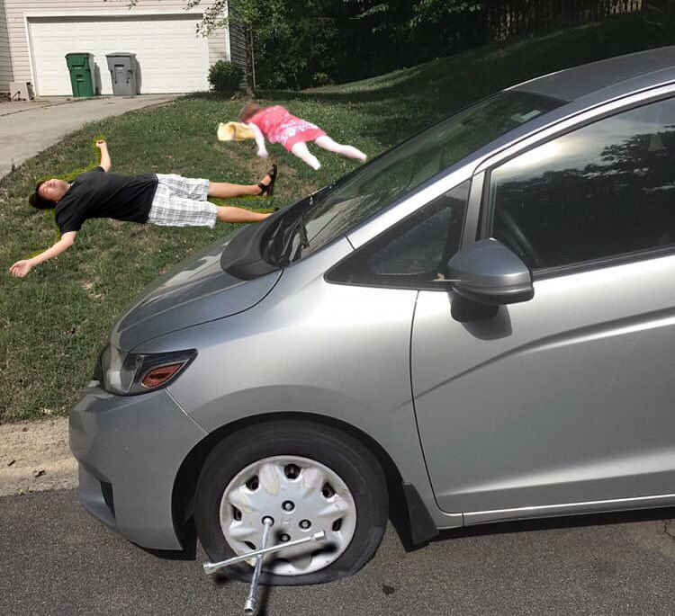 Ce gars a photoshopé une crevaison sur sa voiture pour ne pas travailler
