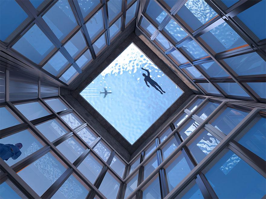 Une entreprise a conçu la toute première piscine à débordement avec vue à 360 degrés et une entrée qui fonctionne comme la porte d'un sous-marin
