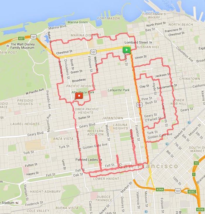 Ce coureur utilise les rues comme sa toile et trace des dessins artistiques avec ses itinéraires (24 images)