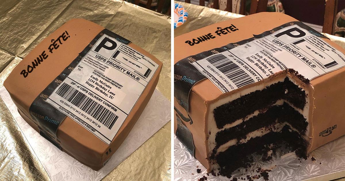 Cette femme aime tellement commander sur Amazon que son mari lui a donné un gâteau d'anniversaire Amazon