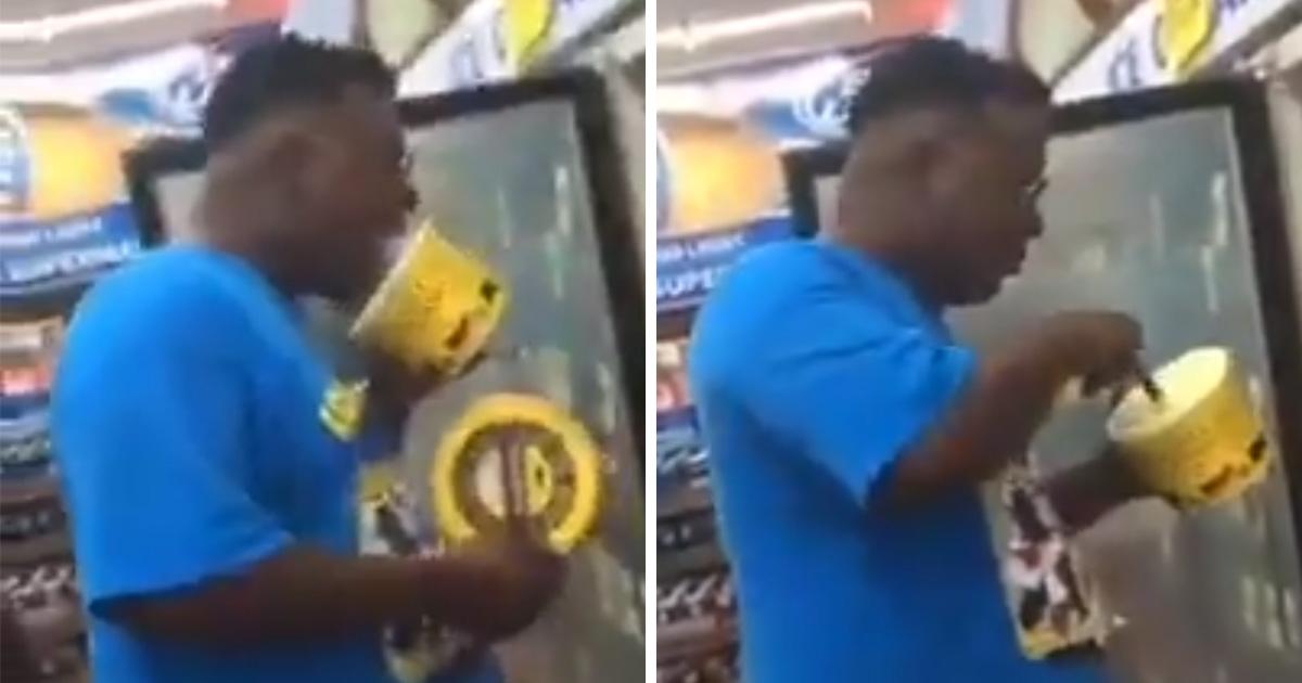 Un autre farceur a léché de la glace et l'a remise sur l'étagère d'un magasin