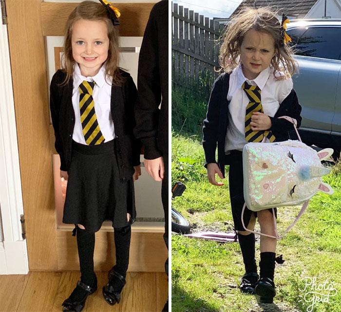 22 photos hilarantes d'enfants avant et après leur premier jour d'école