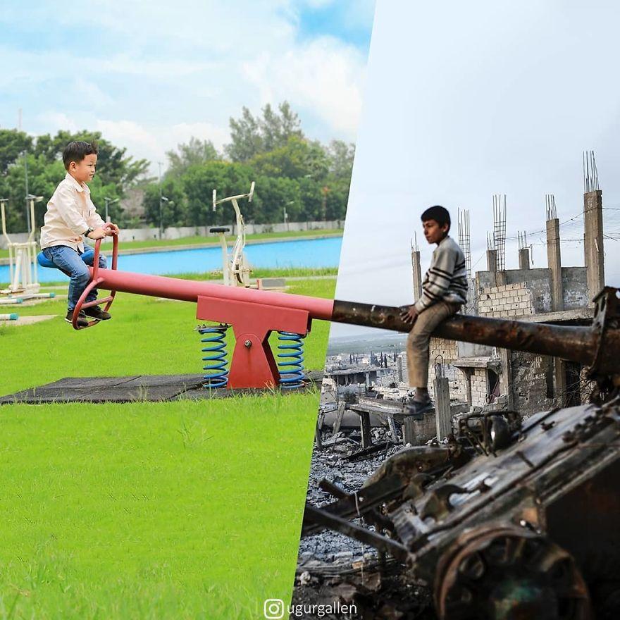 Je montre le contraste entre les deux mondes dans lesquels nous vivons en combinant des photos (23 nouvelles images)