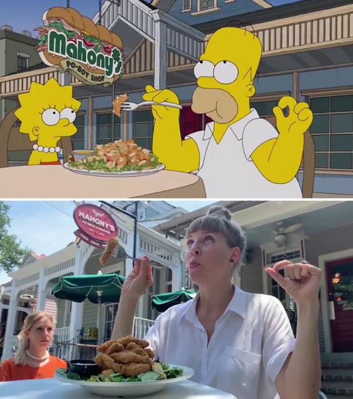Deux touristes suisses ont recréé l'épisode des Simpson du tour gastronomique de Homer dans 54 restaurants de La Nouvelle-Orléans scène par scène