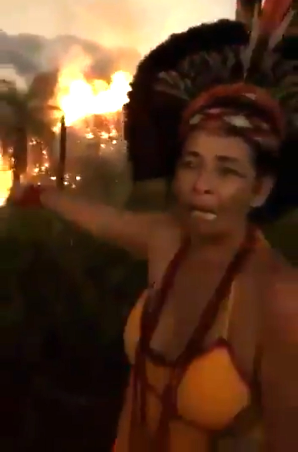 Une femme autochtone brésilienne pleure alors que la forêt amazonienne brûle derrière elle