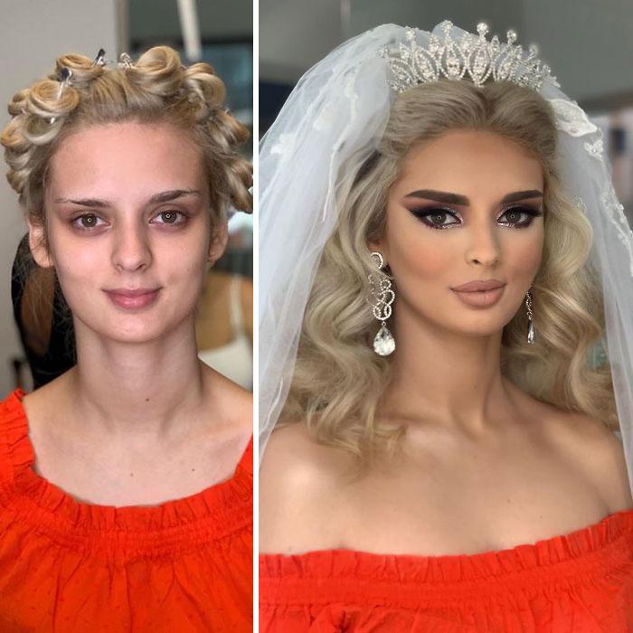 23 photos de mariées prises avant et après leur maquillage de mariage (nouvelles images)