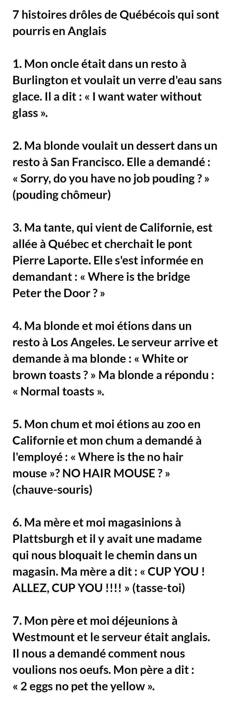 7 histoires drôles de Québécois qui sont nuls en Anglais
