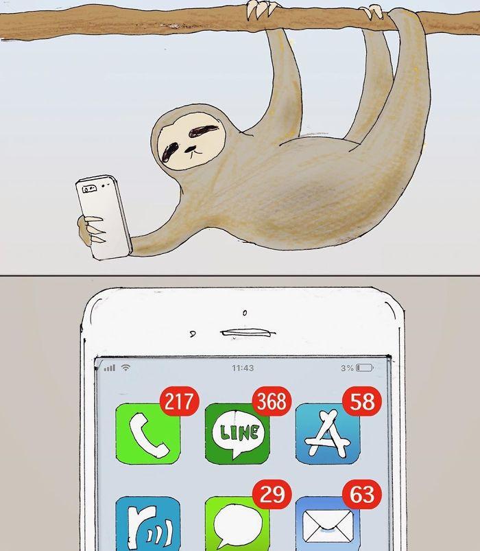 22 problèmes hilarants d'un paresseux illustrés par l'artiste japonais Keigo