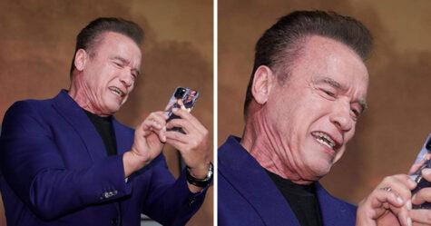 Quelqu'un a remarqué que Arnold Schwarzenegger a la coque d'iPhone la plus drôle