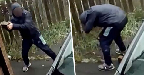 Ce gars a lancé une brique sur la fenêtre d'une voiture qui a rebondi et l'a frappé au visage