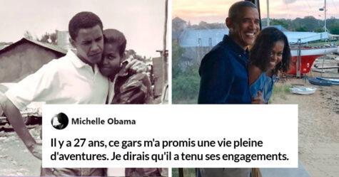 Des messages échangés entre Barack et Michelle Obama à l'occasion de leur 27e anniversaire ont reçu plus de 2 millions de «j'aime»