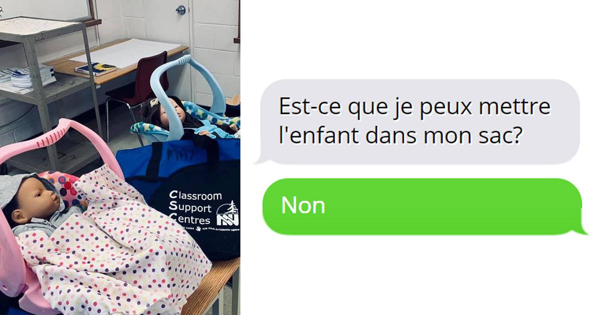 Des ados ont emmené de faux bébés à la maison pour un projet de parentalité et leur prof a partagé leurs textos de désespoir