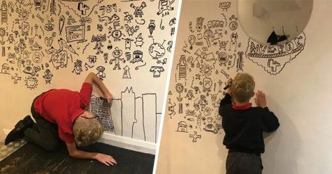 Ce gamin de 9 ans qui avait souvent des ennuis pour ses gribouillages en classe s'est fait embaucher pour décorer un restaurant avec ses dessins