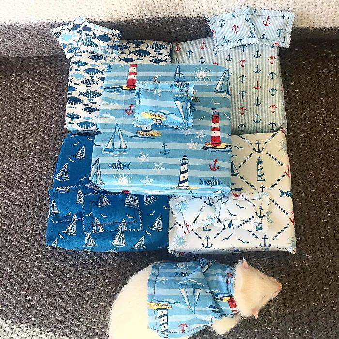 Cette femme confectionne des matelas pour rats ainsi que des pyjamas assortis et ils sont adorables