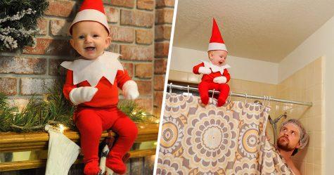 Ce papa de six enfants a transformé son bébé en adorable lutin de Noël (10 images)