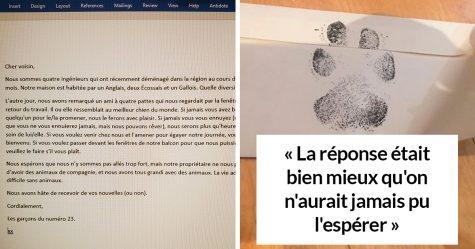 4 gars ont supplié leur voisin de les laisser jouer avec son chien, et ils ont reçu une lettre sympa en réponse