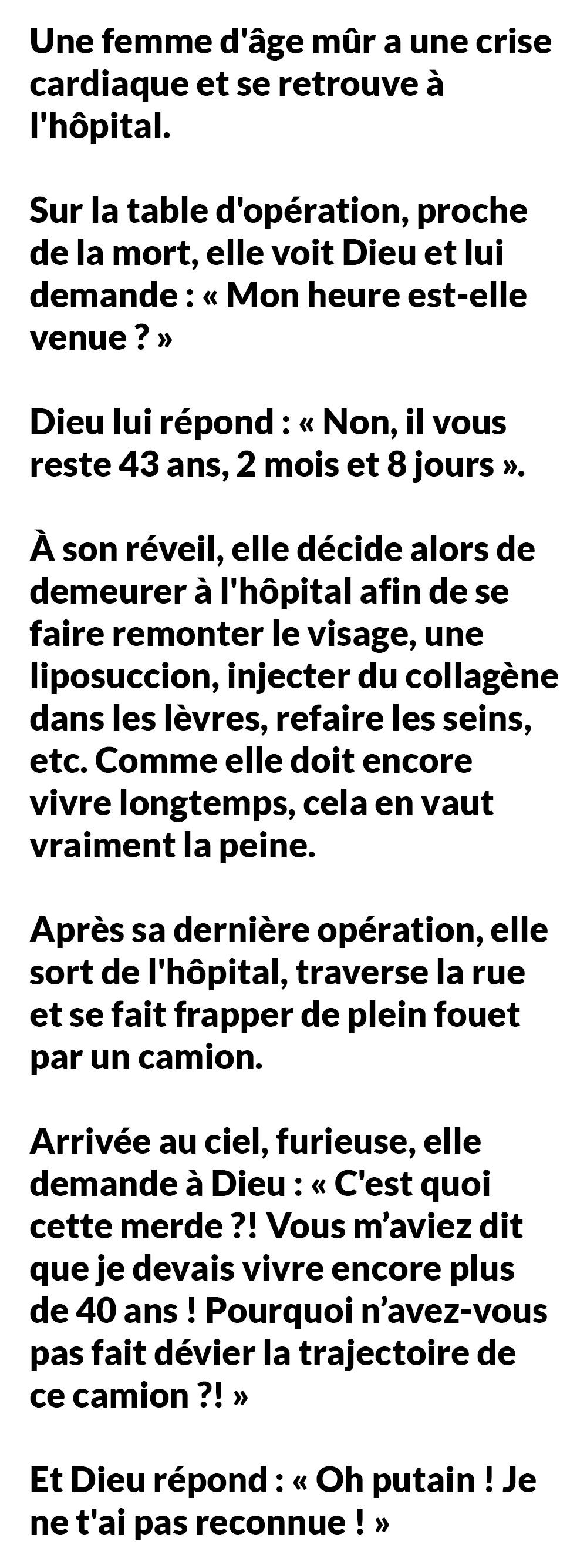 Une femme d'âge mûr a une crise cardiaque et se retrouve à l'hôpital