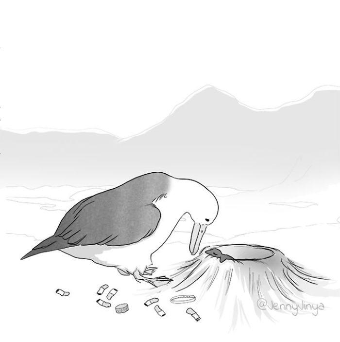 La même artiste qui a fait pleurer les gens avec sa bande dessinée sur un chat noir vient d'en publier une nouvelle sur un albatros
