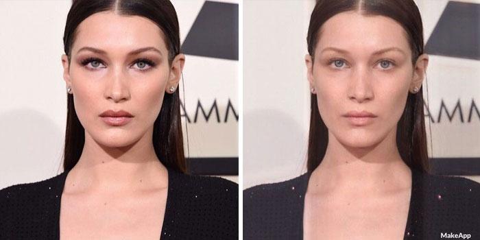 Cette application est munie d'un filtre pour enlever le maquillage et les gens l'utilisent pour voir à quoi ressemblent les célébrités démaquillées (26 images)