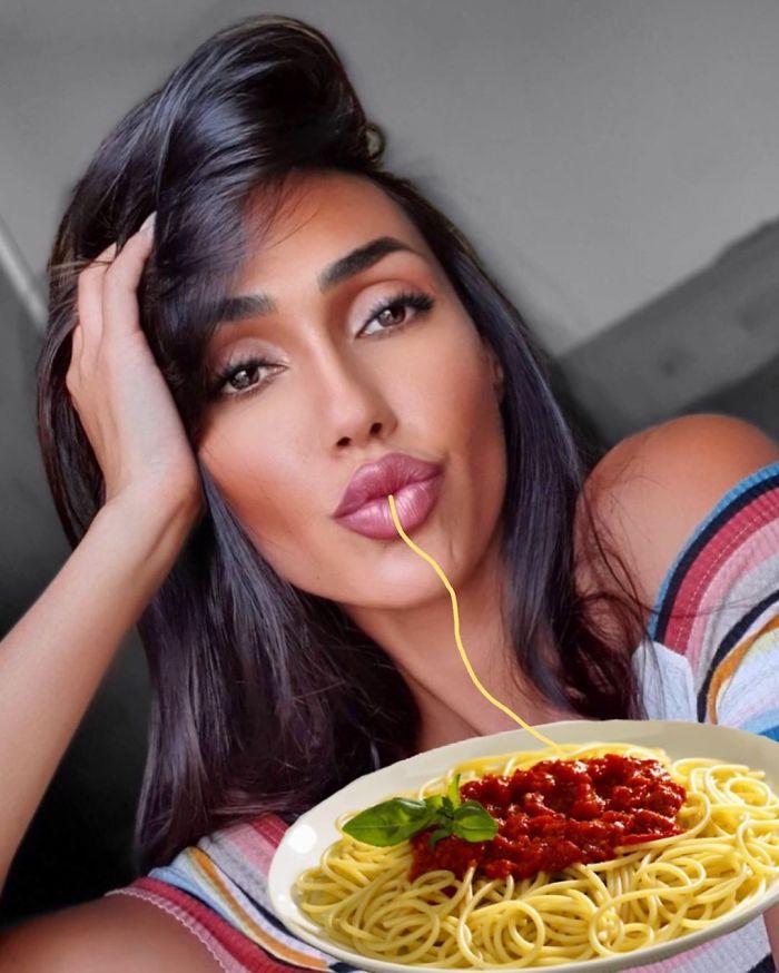 25 fois où des trolls Internet ont amélioré des selfies de duckface en ajoutant du spaghetti
