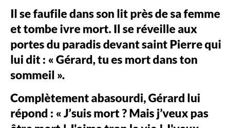 Gérard arrive chez lui complètement saoul