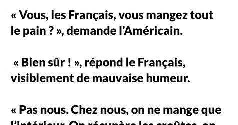 Un Français prend son petit déjeuner quand un Américain, mâchant son chewing-gum, vient s'asseoir près de lui