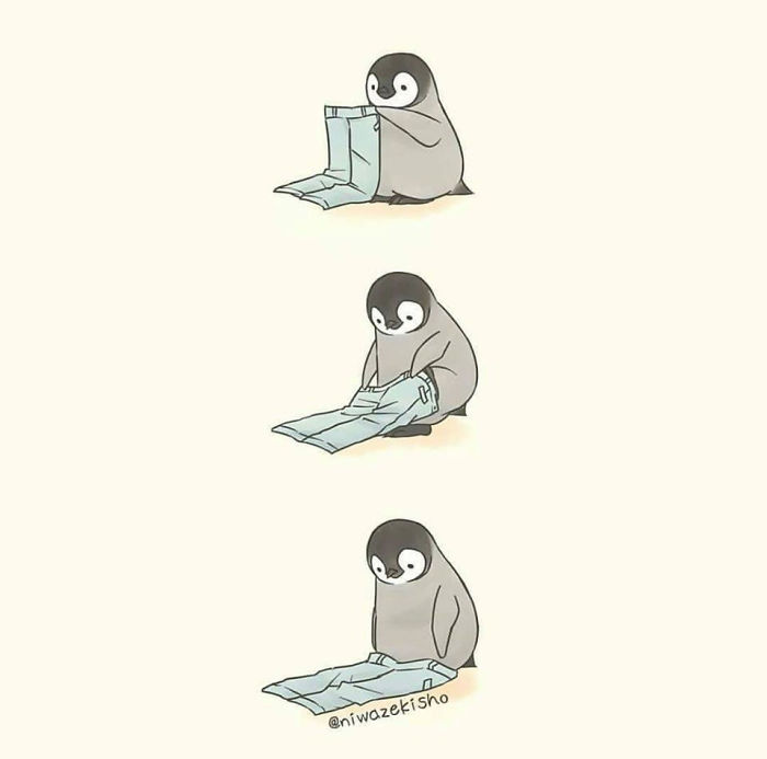 Ces 30 bandes dessinées au sujet d'un petit manchot qui est incapable d'accomplir des tâches simples sont trop mignonnes
