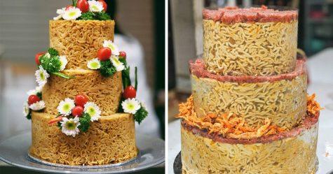 Les gens commandent des gâteaux aux nouilles instantanées pour leurs mariages