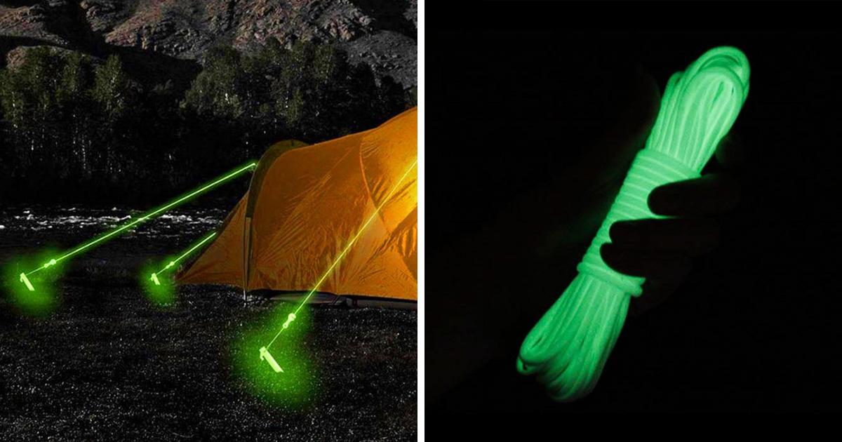 Ces cordes de tente qui brillent dans le noir t'empêcheront de trébucher dessus la nuit