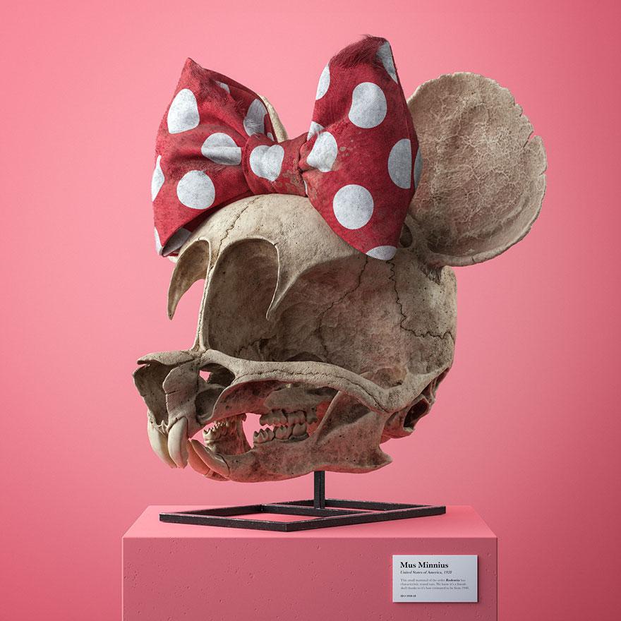 Des crânes anatomiquement corrects de personnages de dessins animés populaires par l'artiste tchèque Filip Hodas