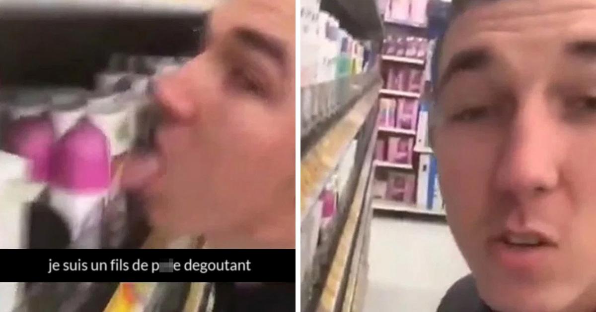 Cet homme qui a léché des articles sur les étagères d'un supermarché a été arrêté et accusé de terrorisme