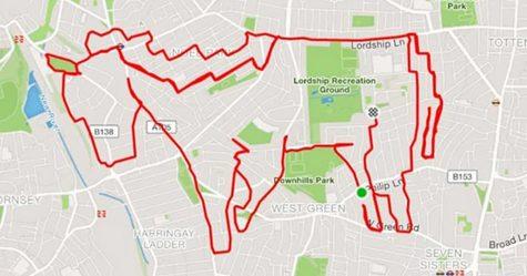 Ce joggeur transforme ses itinéraires de course en dessins d'animaux à l'aide d'un traceur GPS