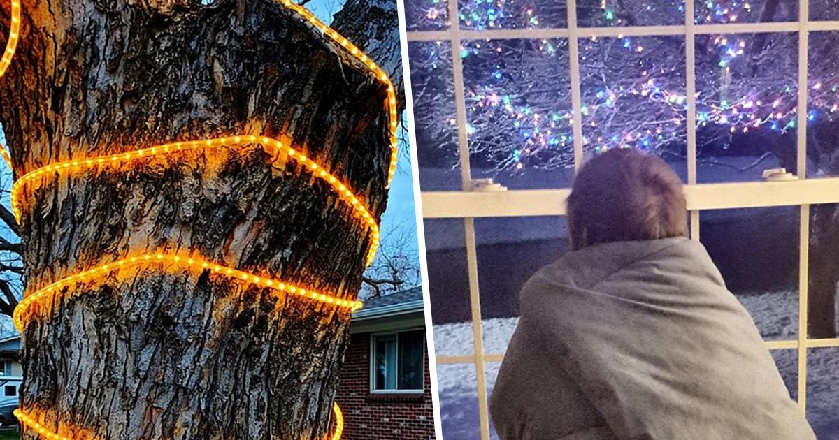Des gens en confinement ont commencé à accrocher des décorations de Noël pour répandre la joie et la bonne humeur