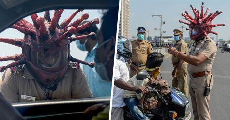 Un policier en Inde a créé un casque anti-coronavirus pour effrayer les personnes qui refusent de rester à la maison