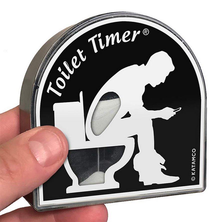 Tu peux obtenir un sablier pour les personnes qui passent trop de temps aux toilettes