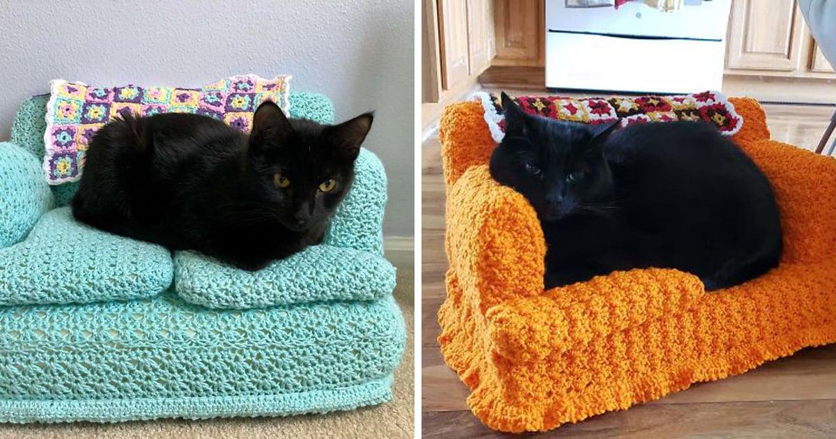 Les gens utilisent leur temps libre pour crocheter de petits canapés pour leurs chats et voici les 16 plus beaux
