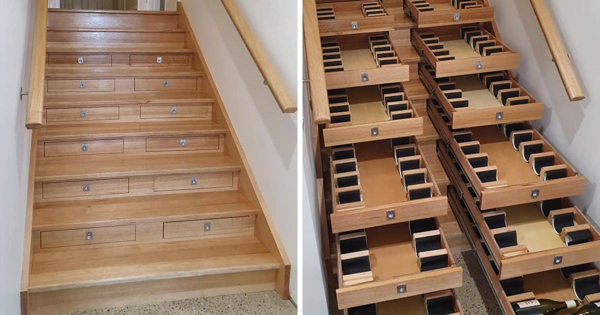 Cet homme a transformé un escalier en cellier contenant 156 bouteilles de vin