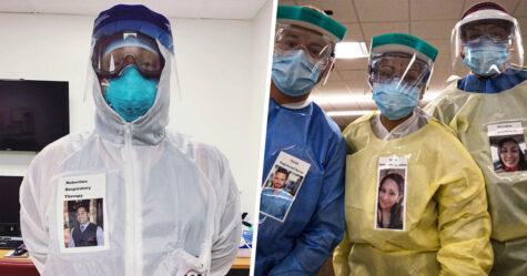 Des médecins collent des photos d'eux avec un sourire sur leurs combinaisons de protection pour rassurer les patients atteints de la COVID-19