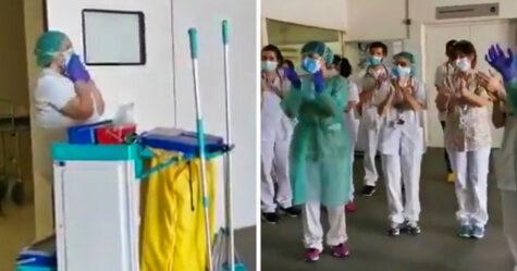 Le personnel de l'Hôpital Saint Jean de Dieu de Barcelone a rendu hommage aux agents d'entretien pour leur contribution oubliée