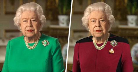 La reine d'Angleterre a prononcé un discours vêtue d'un habit vert et les photoshopeurs ont immédiatement su quoi faire