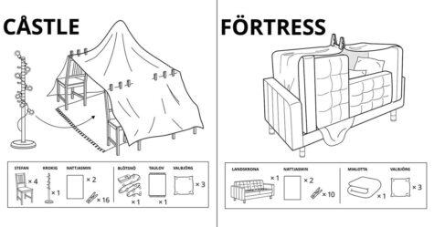 IKEA partage les instructions pour faire 6 types de cabanes de couvertures pendant le confinement