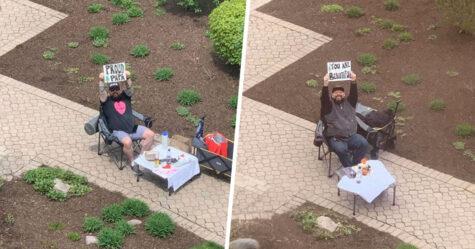 Chaque semaine, ce mari organise des soirées en amoureux devant la fenêtre de l'hôpital alors que sa femme attend d'accoucher