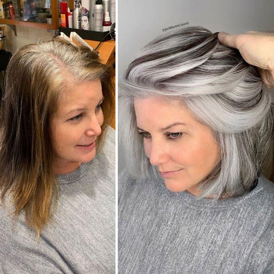 Au lieu de couvrir les racines grises, ce coiffeur incite ses clientes à les apprécier grâce à ses puissantes transformations