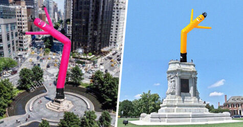 Quelqu'un échange des monuments racistes pour des danseurs gonflables colorés dans des images hilarantes et les gens trouvent cela génial